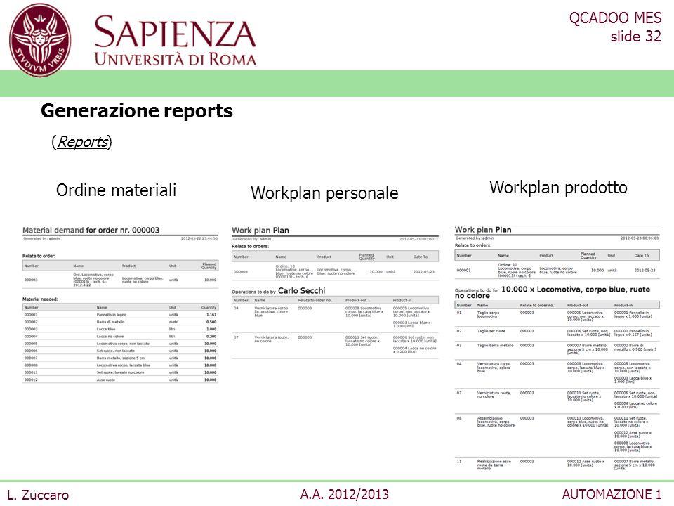 QCADOO MES slide 32 L. Zuccaro A.A. 2012/2013AUTOMAZIONE 1 Generazione reports (Reports) Ordine materiali Workplan personale Workplan prodotto