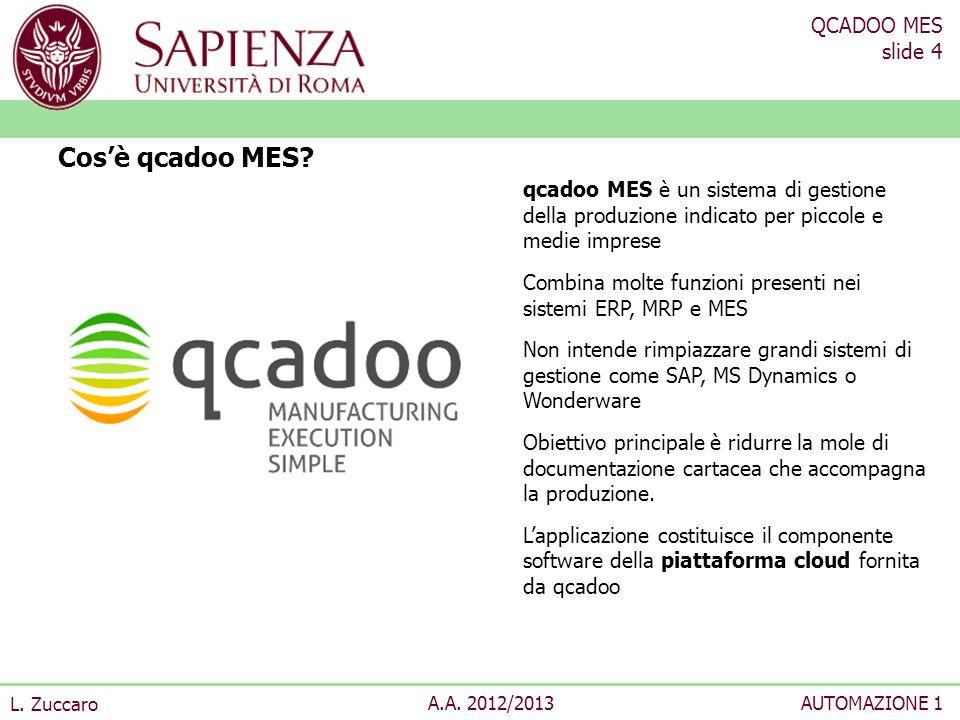 QCADOO MES slide 4 L. Zuccaro A.A. 2012/2013AUTOMAZIONE 1 Cosè qcadoo MES? qcadoo MES è un sistema di gestione della produzione indicato per piccole e
