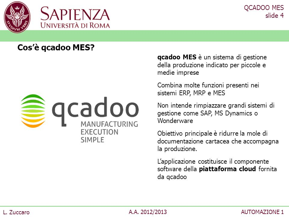QCADOO MES slide 5 L.Zuccaro A.A.