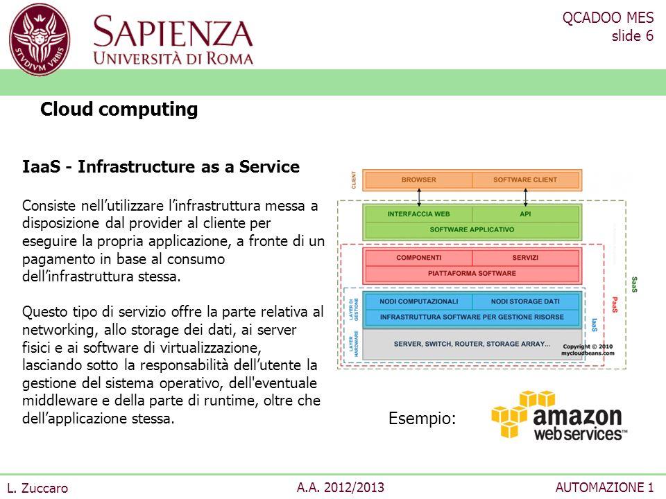 QCADOO MES slide 6 L. Zuccaro A.A. 2012/2013AUTOMAZIONE 1 Cloud computing IaaS - Infrastructure as a Service Consiste nellutilizzare linfrastruttura m