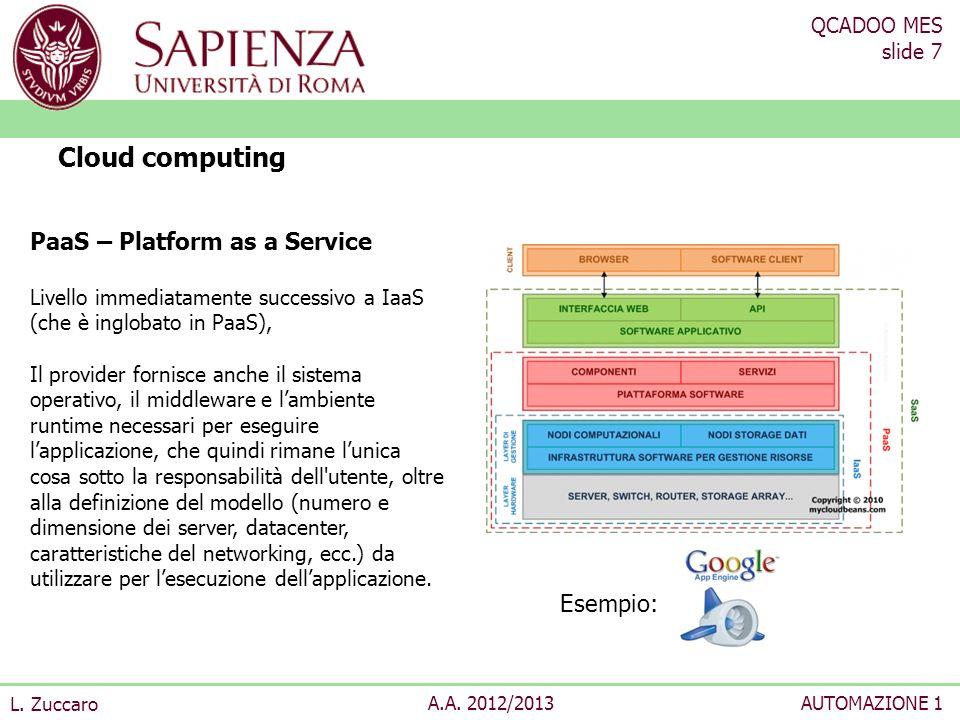 QCADOO MES slide 7 L. Zuccaro A.A. 2012/2013AUTOMAZIONE 1 Cloud computing PaaS – Platform as a Service Livello immediatamente successivo a IaaS (che è