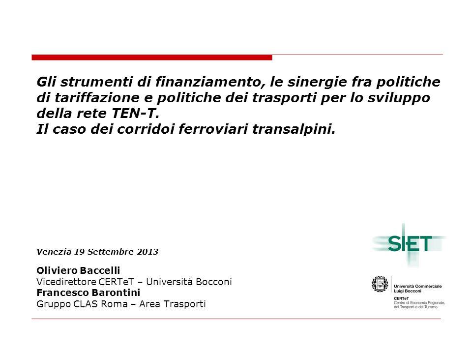 Gli strumenti di finanziamento, le sinergie fra politiche di tariffazione e politiche dei trasporti per lo sviluppo della rete TEN-T.