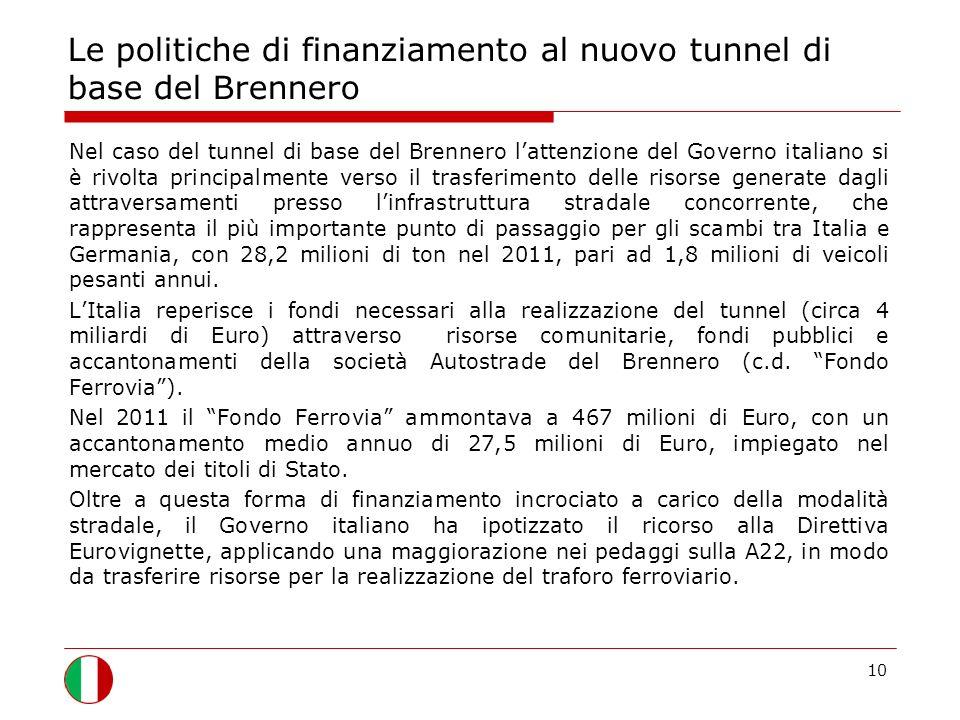 Le politiche di finanziamento al nuovo tunnel di base del Brennero Nel caso del tunnel di base del Brennero lattenzione del Governo italiano si è rivolta principalmente verso il trasferimento delle risorse generate dagli attraversamenti presso linfrastruttura stradale concorrente, che rappresenta il più importante punto di passaggio per gli scambi tra Italia e Germania, con 28,2 milioni di ton nel 2011, pari ad 1,8 milioni di veicoli pesanti annui.