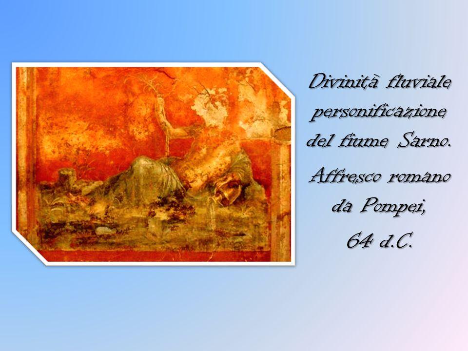 Divinità fluviale personificazione del fiume Sarno. Affresco romano da Pompei, 64 d.C.