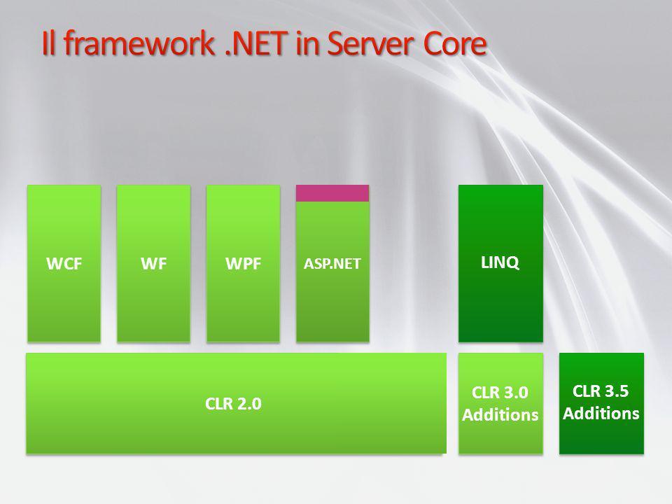 CLR 2.0 ASP.NET WPF LINQ CLR 3.0 Additions CLR 3.0 Additions CLR 3.5 Additions CLR 3.5 Additions WPF WCF WF