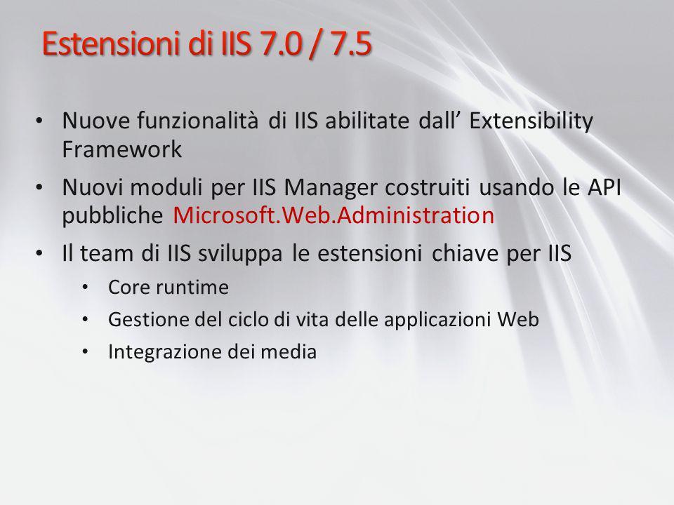 Nuove funzionalità di IIS abilitate dall Extensibility Framework Nuovi moduli per IIS Manager costruiti usando le API pubbliche Microsoft.Web.Administ