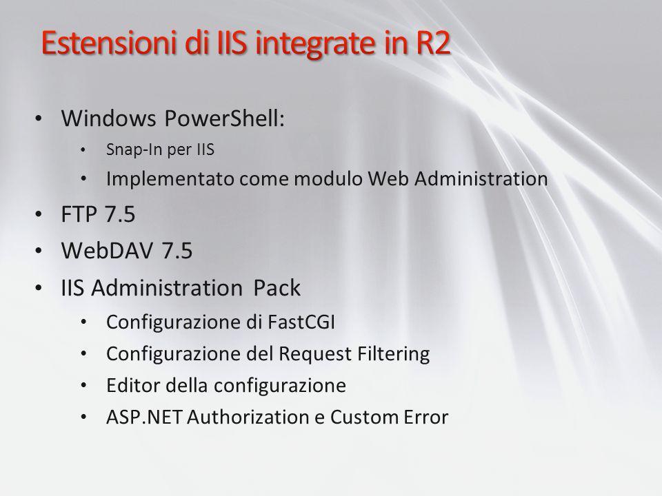 Windows PowerShell: Snap-In per IIS Implementato come modulo Web Administration FTP 7.5 WebDAV 7.5 IIS Administration Pack Configurazione di FastCGI C