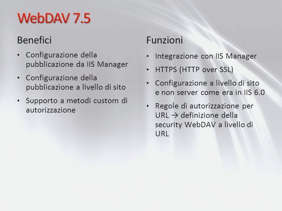 Benefici Configurazione della pubblicazione da IIS Manager Configurazione della pubblicazione a livello di sito Supporto a metodi custom di autorizzaz