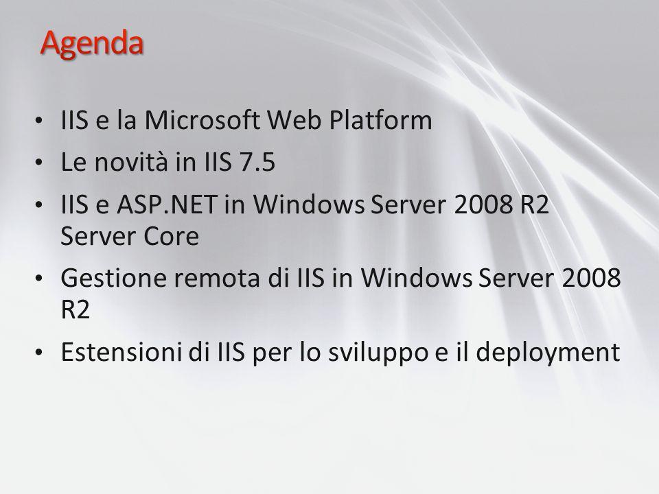 IIS e la Microsoft Web Platform Le novità in IIS 7.5 IIS e ASP.NET in Windows Server 2008 R2 Server Core Gestione remota di IIS in Windows Server 2008