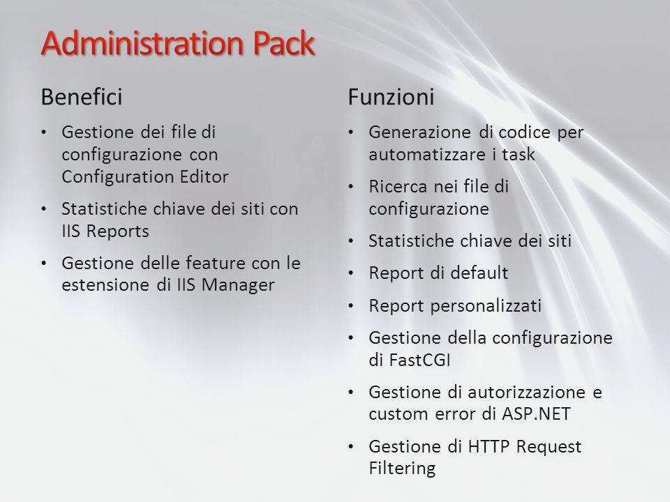 Benefici Gestione dei file di configurazione con Configuration Editor Statistiche chiave dei siti con IIS Reports Gestione delle feature con le estens