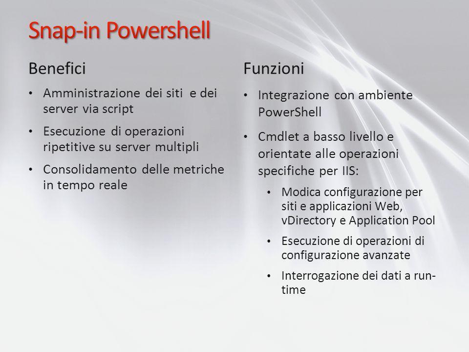 Benefici Amministrazione dei siti e dei server via script Esecuzione di operazioni ripetitive su server multipli Consolidamento delle metriche in temp
