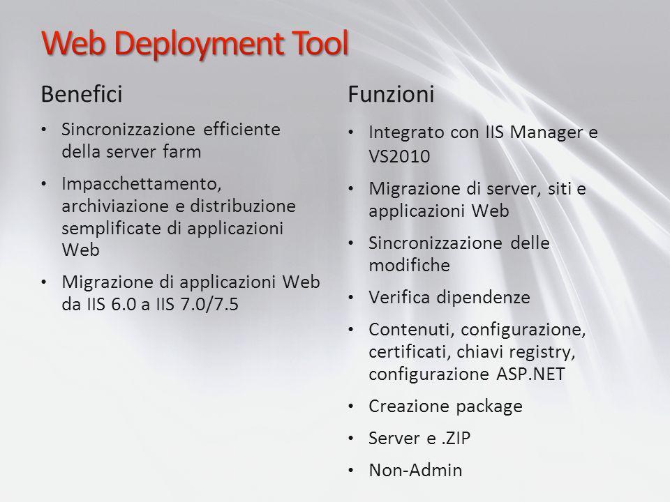 Benefici Sincronizzazione efficiente della server farm Impacchettamento, archiviazione e distribuzione semplificate di applicazioni Web Migrazione di