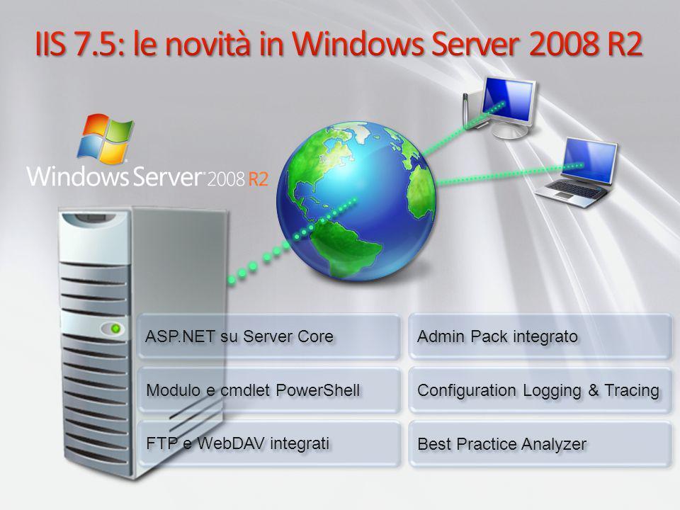 .NET Framework in Server Core Sotto insieme di.NET 2.0 Sotto insieme di.NET 3.0 Windows Communication Framework (WCF) Windows Workflow Framework (WF) Sotto insieme di.NET 3.5 Aggiunta di WF dalla 3.5 LINQ Sotto insieme del supporto di ASP.NET per IIS Supporto di Windows PowerShell WoW64 come funzione opzionale Non installata per default