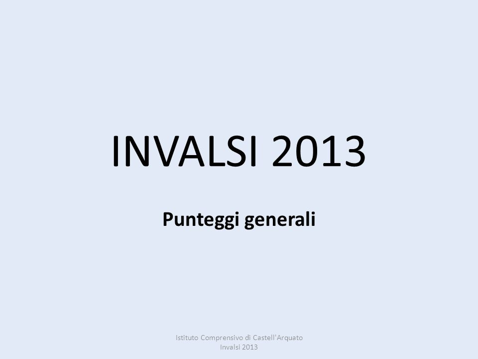 INVALSI 2013 Punteggi generali Istituto Comprensivo di Castell Arquato Invalsi 2013