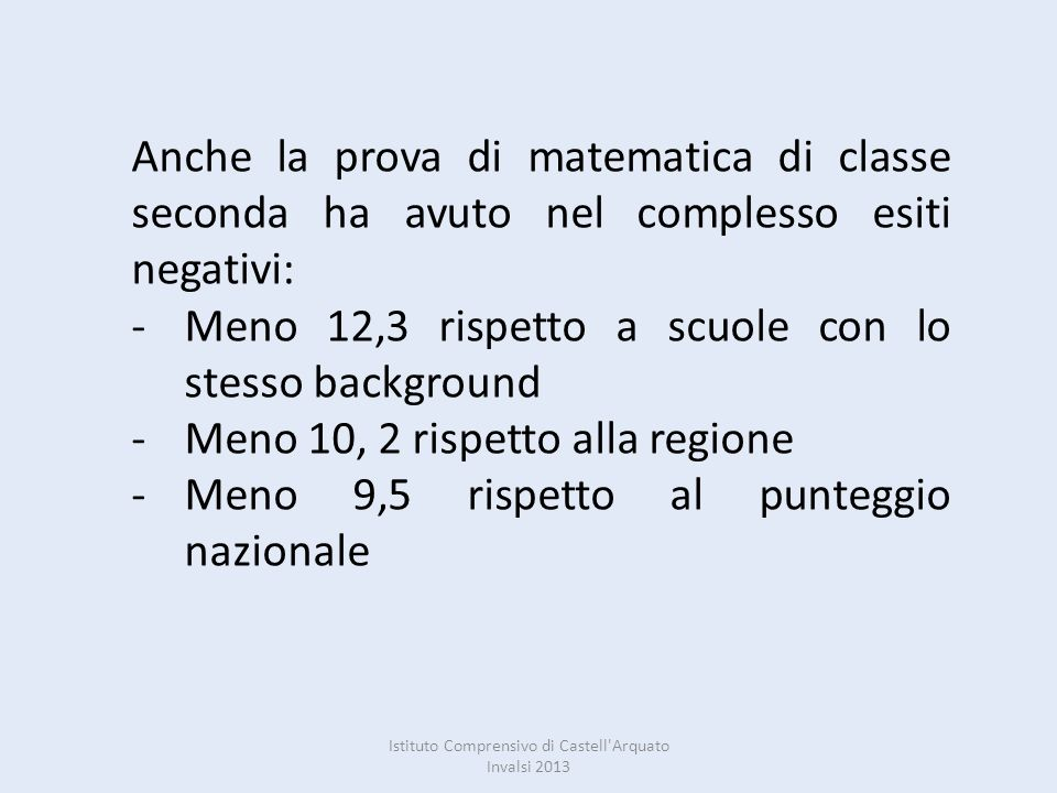 Istituto Comprensivo di Castell Arquato Invalsi 2013 Dallincrocio dei risultati di italiano e matematica su 79 alunni di classe seconda che hanno affrontato la prova 40 risultano essere di fascia bassa (1-2) solo 14 di fascia alta (4-5).