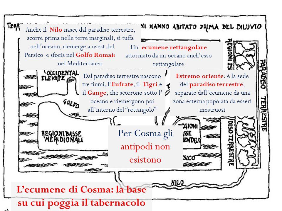 Cosma, interpretando un passo del cap. 9 della Lettera agli Ebrei, fa del tabernacolo (la tenda) di Mosè il modello del mondo. Il mondo appare quindi