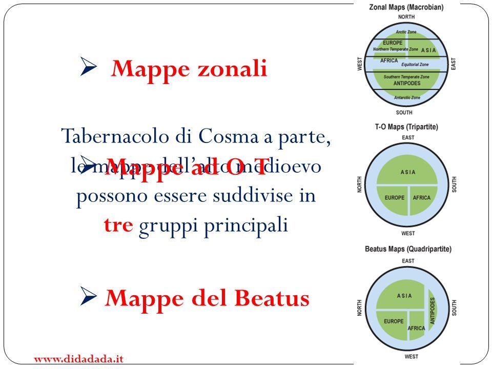 Tabernacolo di Cosma a parte, le mappe dellalto medioevo possono essere suddivise in tre gruppi principali Mappe zonali Mappe ad O T Mappe del Beatus