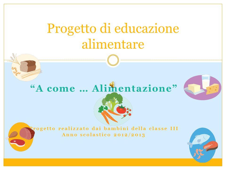 A come … Alimentazione Progetto realizzato dai bambini della classe III Anno scolastico 2012/2013 Progetto di educazione alimentare
