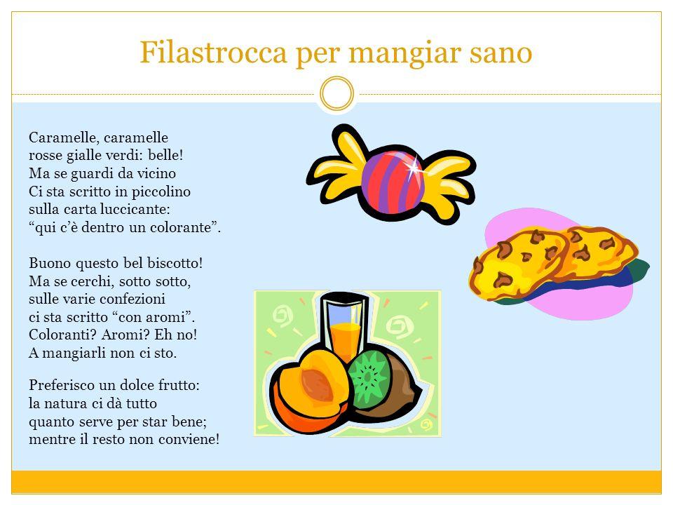 Filastrocca per mangiar sano Caramelle, caramelle rosse gialle verdi: belle! Ma se guardi da vicino Ci sta scritto in piccolino sulla carta luccicante