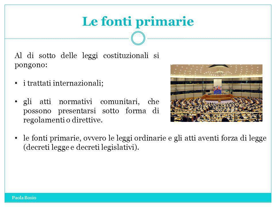 Le fonti primarie Al di sotto delle leggi costituzionali si pongono: i trattati internazionali; gli atti normativi comunitari, che possono presentarsi