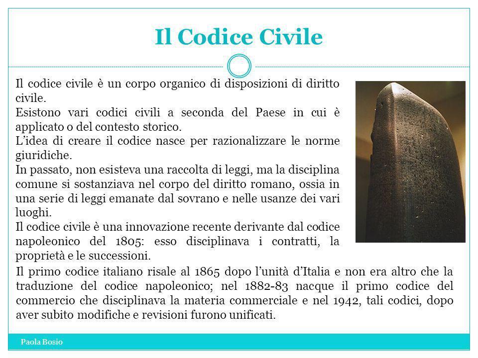 Il Codice Civile Il codice civile è un corpo organico di disposizioni di diritto civile. Esistono vari codici civili a seconda del Paese in cui è appl