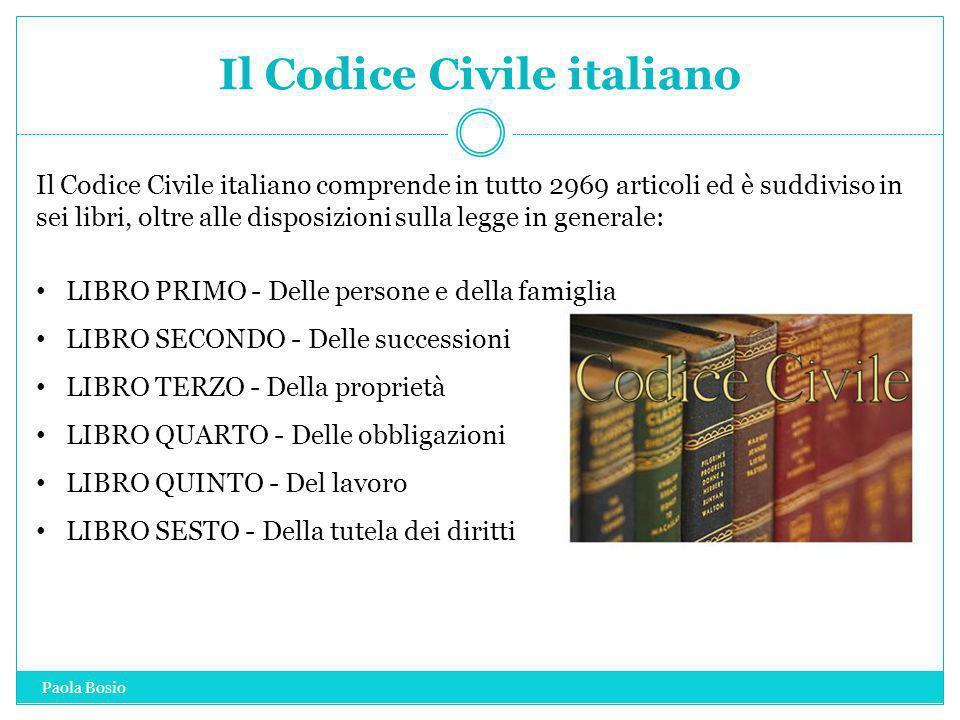 Il Codice Civile italiano Il Codice Civile italiano comprende in tutto 2969 articoli ed è suddiviso in sei libri, oltre alle disposizioni sulla legge
