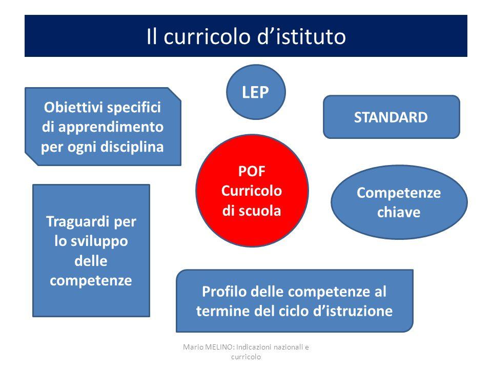 Il curricolo distituto POF Curricolo di scuola LEP STANDARD Competenze chiave Profilo delle competenze al termine del ciclo distruzione Traguardi per