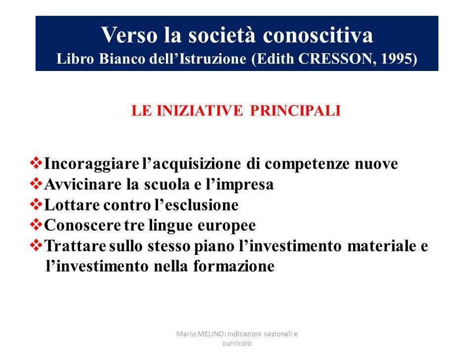 Verso la società conoscitiva Libro Bianco dellIstruzione (Edith CRESSON, 1995) LE INIZIATIVE PRINCIPALI Incoraggiare lacquisizione di competenze nuove
