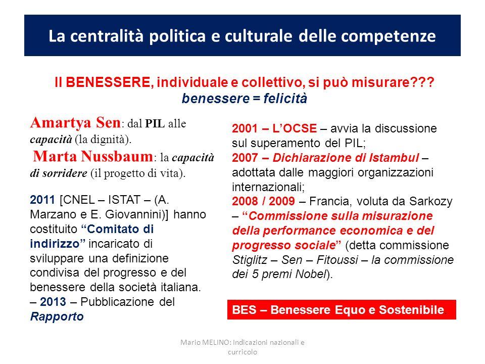 La centralità politica e culturale delle competenze Amartya Sen : dal PIL alle capacità (la dignità). Marta Nussbaum : la capacità di sorridere (il pr