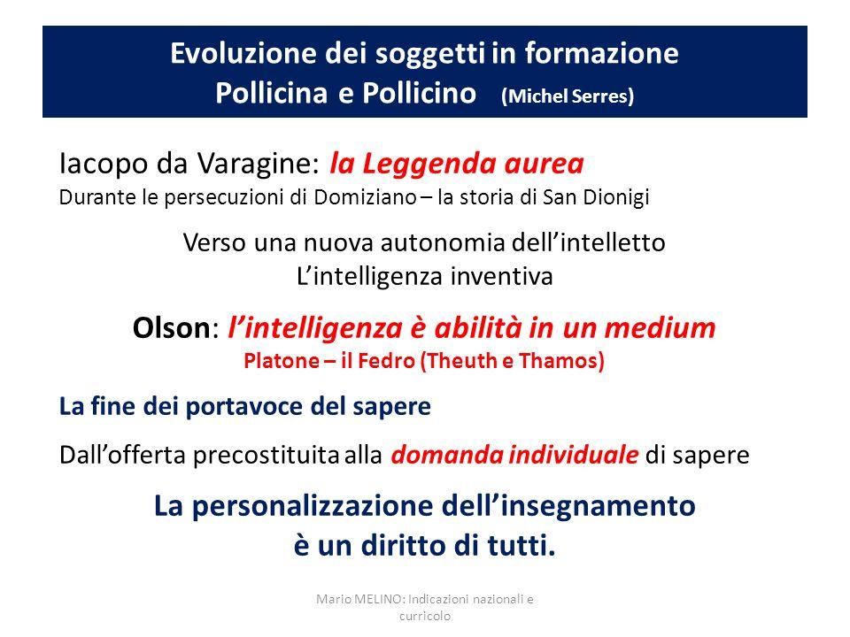 Evoluzione dei soggetti in formazione Pollicina e Pollicino (Michel Serres) Iacopo da Varagine: la Leggenda aurea Durante le persecuzioni di Domiziano