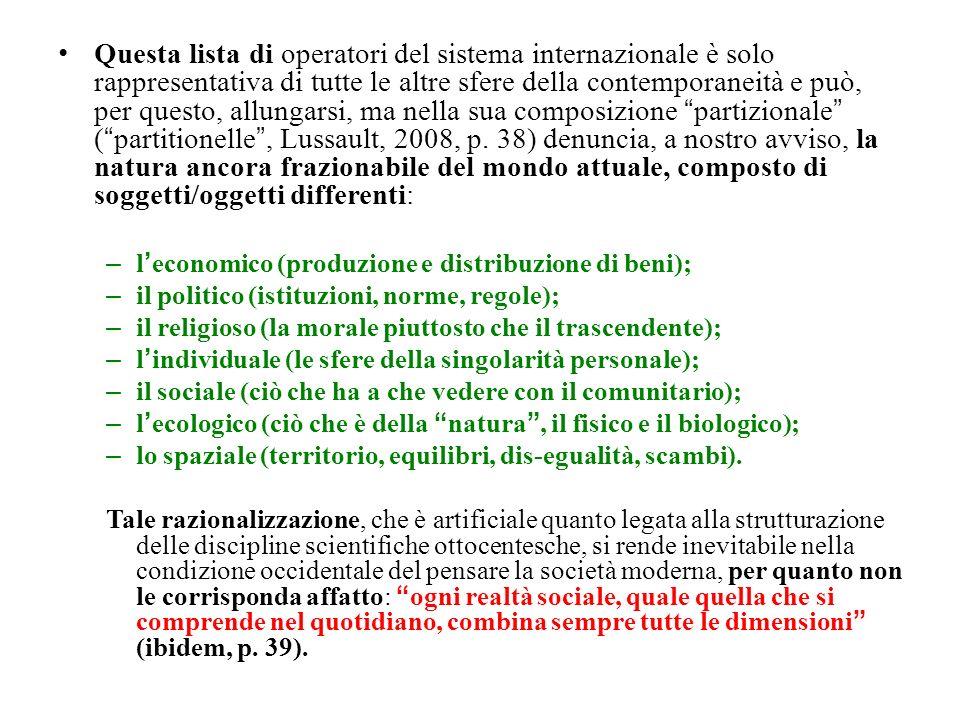 Questa lista di operatori del sistema internazionale è solo rappresentativa di tutte le altre sfere della contemporaneità e può, per questo, allungarsi, ma nella sua composizione partizionale (partitionelle, Lussault, 2008, p.