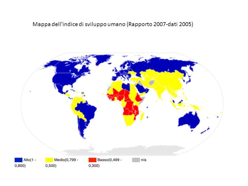 Mappa dell'indice di sviluppo umano (Rapporto 2007-dati 2005)