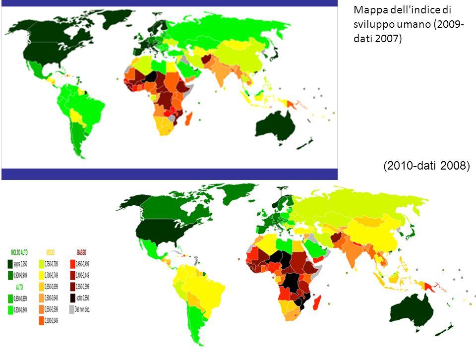 Mappa dell indice di sviluppo umano (2009- dati 2007) (2010-dati 2008)