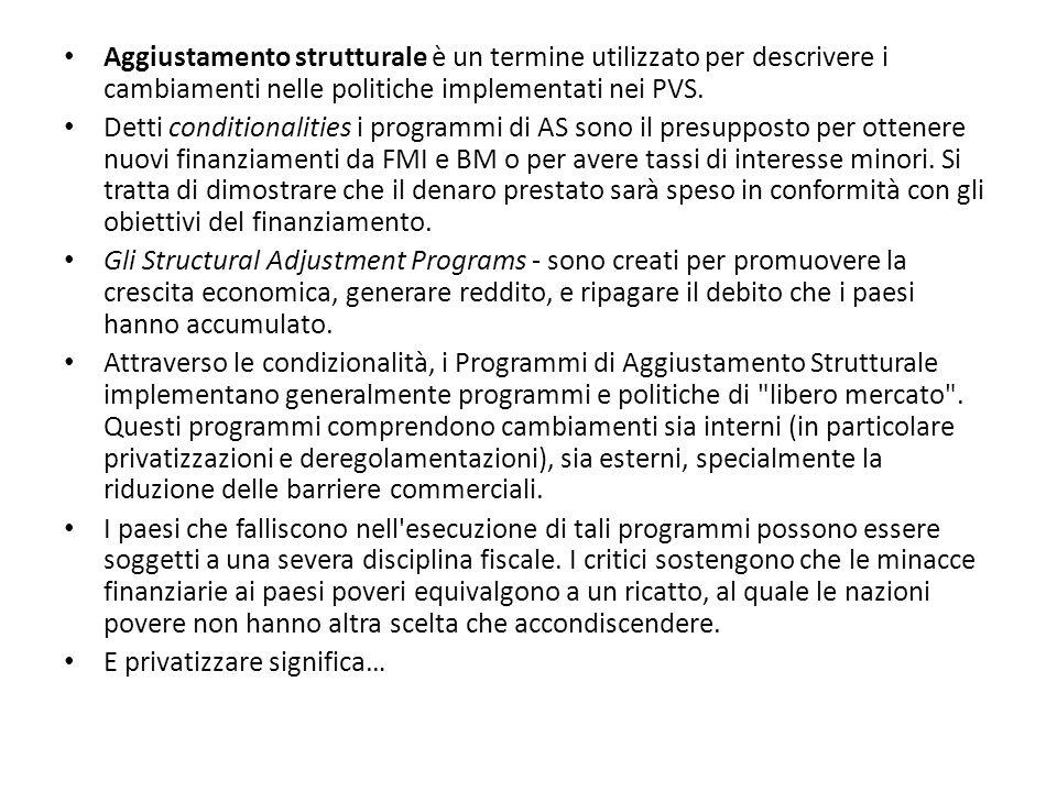 Aggiustamento strutturale è un termine utilizzato per descrivere i cambiamenti nelle politiche implementati nei PVS. Detti conditionalities i programm