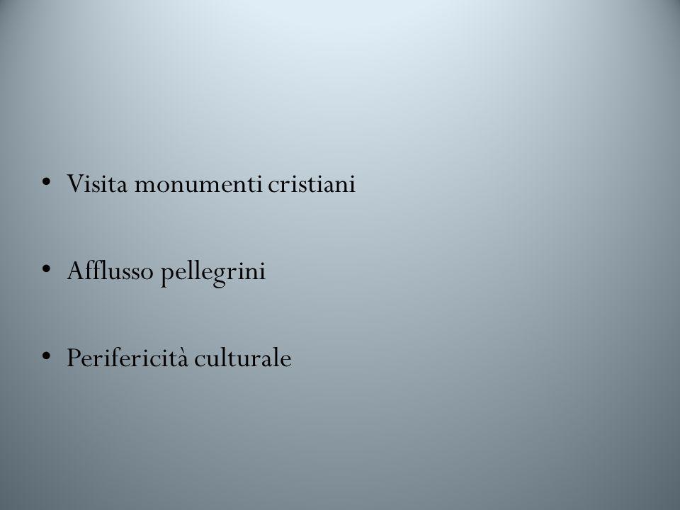 Visita monumenti cristiani Afflusso pellegrini Perifericità culturale