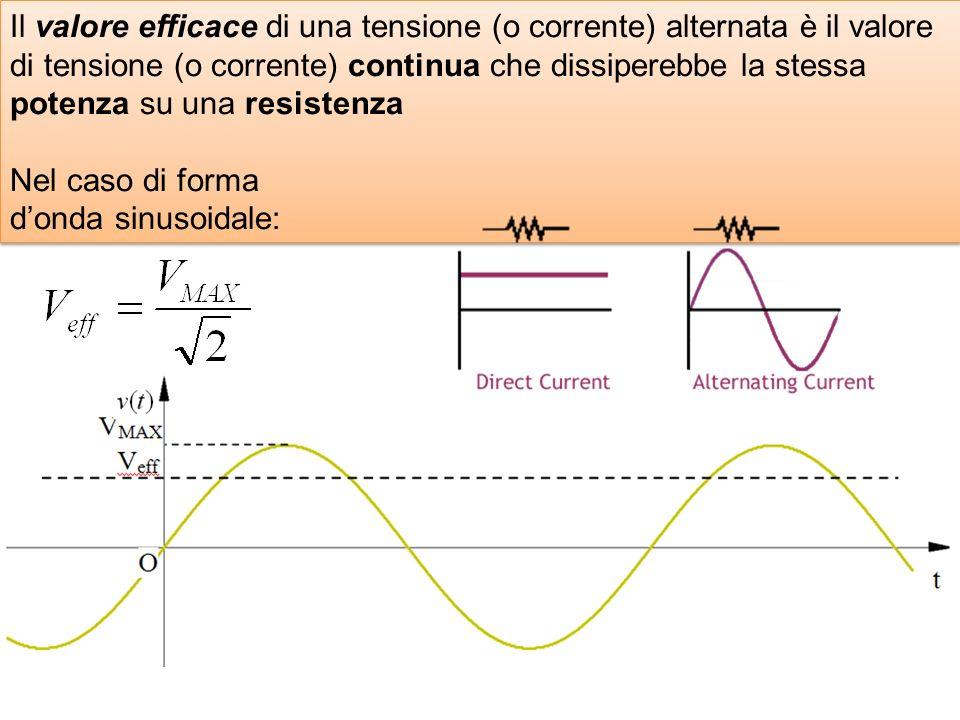 Il valore efficace di una tensione (o corrente) alternata è il valore di tensione (o corrente) continua che dissiperebbe la stessa potenza su una resi