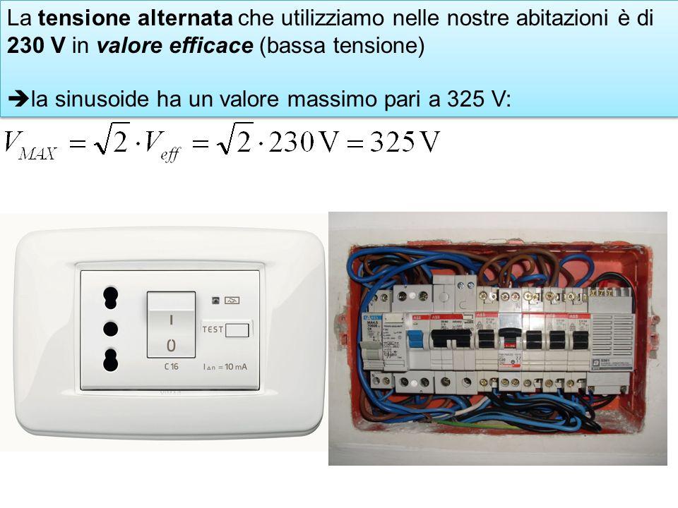 La tensione alternata che utilizziamo nelle nostre abitazioni è di 230 V in valore efficace (bassa tensione) la sinusoide ha un valore massimo pari a