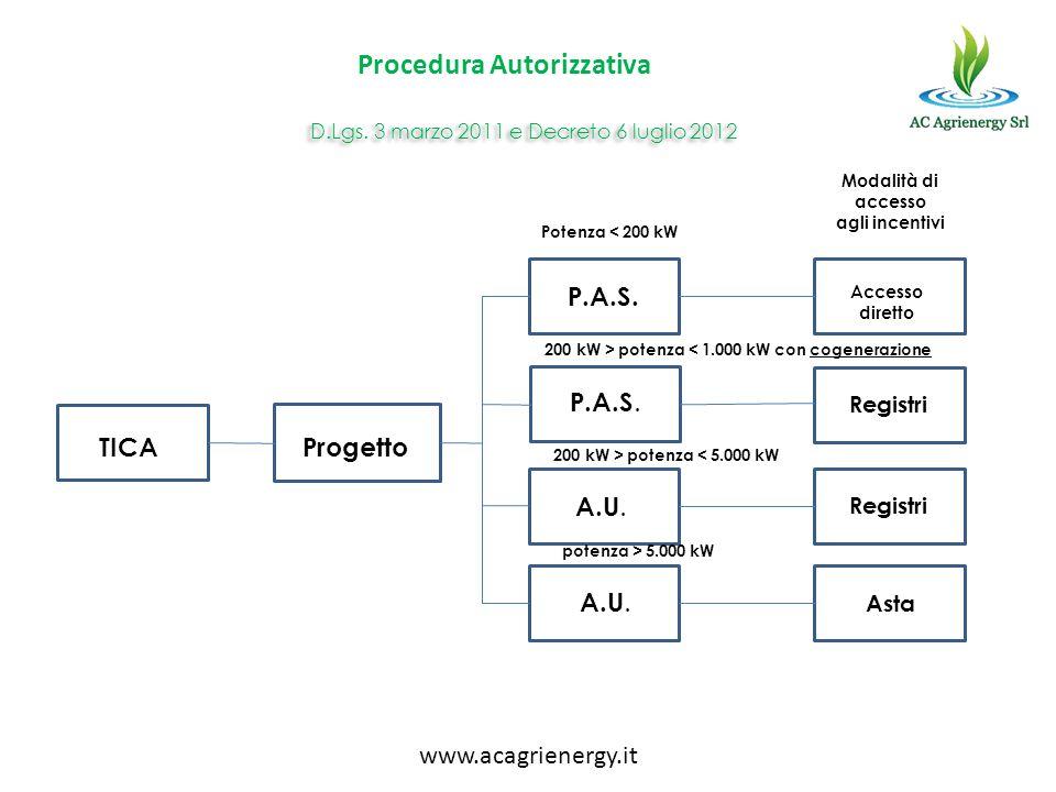 TICAProgetto P.A.S. A.U. Accesso diretto Registri Asta Potenza < 200 kW 200 kW > potenza < 1.000 kW con cogenerazione 200 kW > potenza < 5.000 kW pote