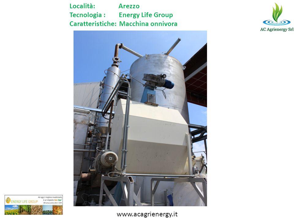 www.acagrienergy.it Località: Arezzo Tecnologia : Energy Life Group Caratteristiche: Macchina onnivora