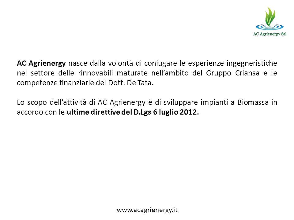 AC Agrienergy nasce dalla volontà di coniugare le esperienze ingegneristiche nel settore delle rinnovabili maturate nellambito del Gruppo Criansa e le