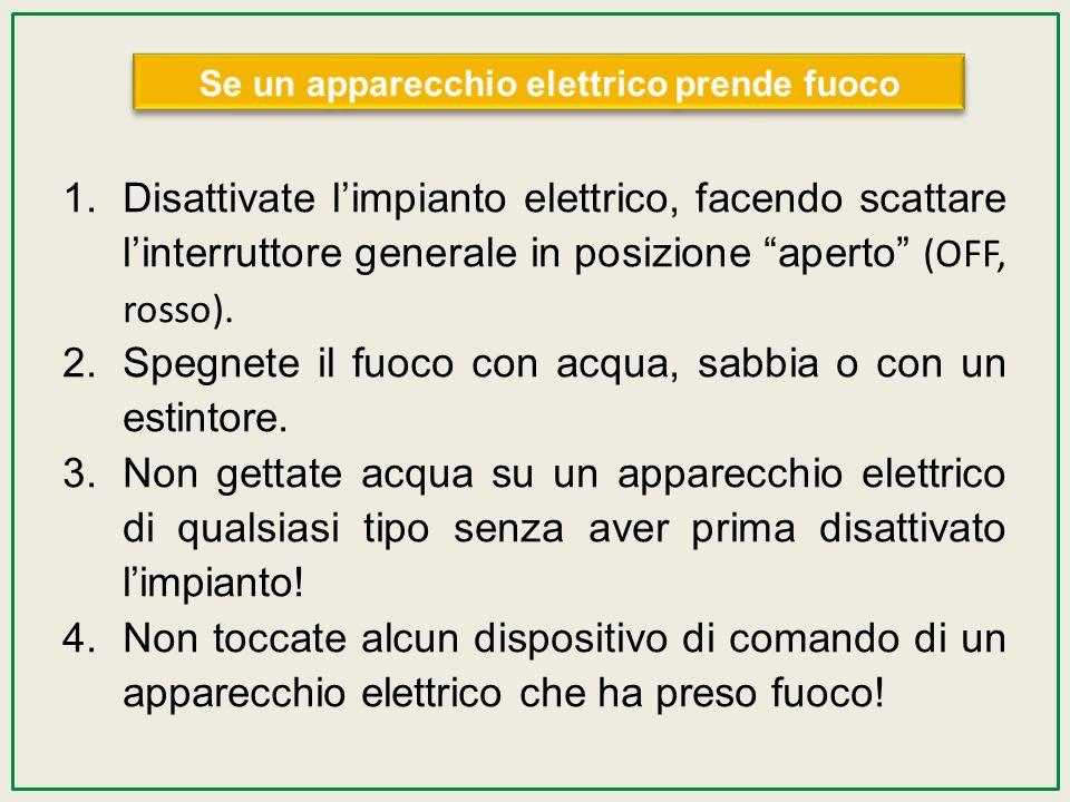 1.Disattivate limpianto elettrico, facendo scattare linterruttore generale in posizione aperto (OFF, rosso). 2.Spegnete il fuoco con acqua, sabbia o c
