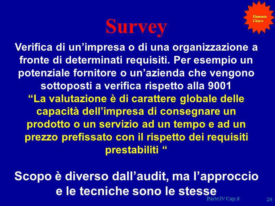 Parte IV Cap.8 26 Survey Verifica di unimpresa o di una organizzazione a fronte di determinati requisiti. Per esempio un potenziale fornitore o unazie