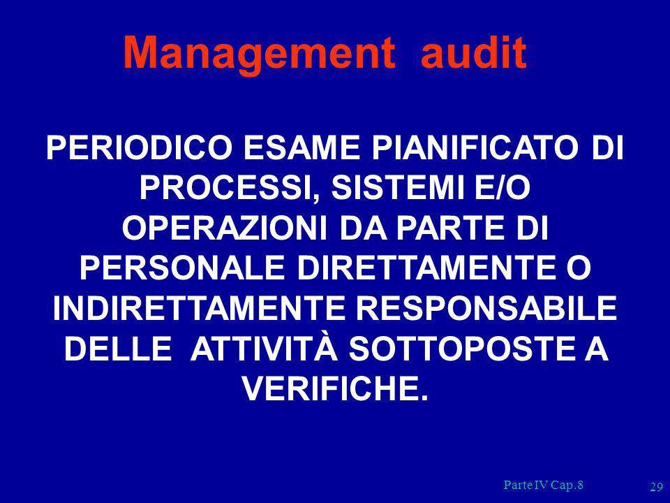 Parte IV Cap.8 29 Management audit PERIODICO ESAME PIANIFICATO DI PROCESSI, SISTEMI E/O OPERAZIONI DA PARTE DI PERSONALE DIRETTAMENTE O INDIRETTAMENTE