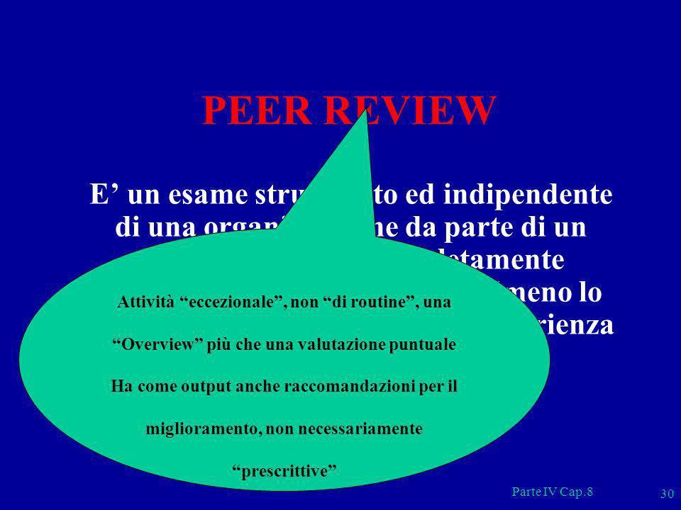 Parte IV Cap.8 30 PEER REVIEW E un esame strutturato ed indipendente di una organizzazione da parte di un gruppo di esperti completamente indipendenti