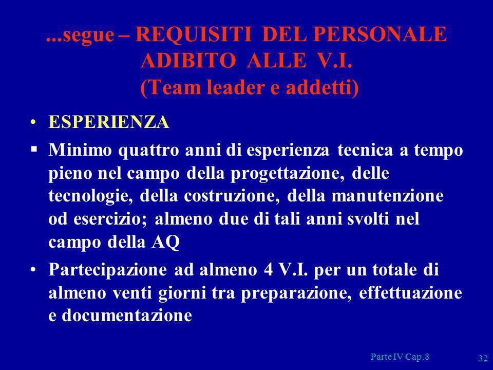 Parte IV Cap.8 32...segue – REQUISITI DEL PERSONALE ADIBITO ALLE V.I. (Team leader e addetti) ESPERIENZA Minimo quattro anni di esperienza tecnica a t