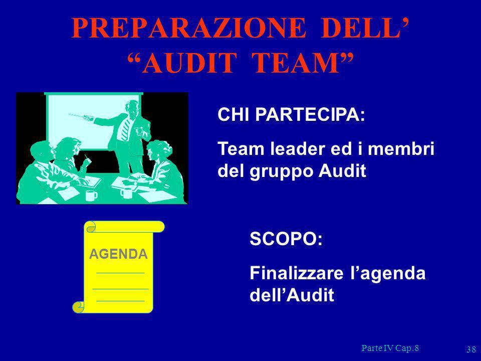 Parte IV Cap.8 38 CHI PARTECIPA: Team leader ed i membri del gruppo Audit AGENDA SCOPO: Finalizzare lagenda dellAudit PREPARAZIONE DELL AUDIT TEAM