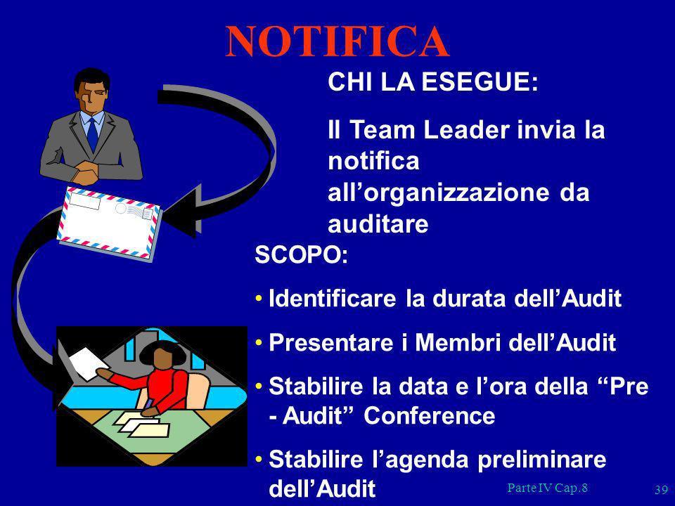 Parte IV Cap.8 39 CHI LA ESEGUE: Il Team Leader invia la notifica allorganizzazione da auditare SCOPO: Identificare la durata dellAudit Presentare i M