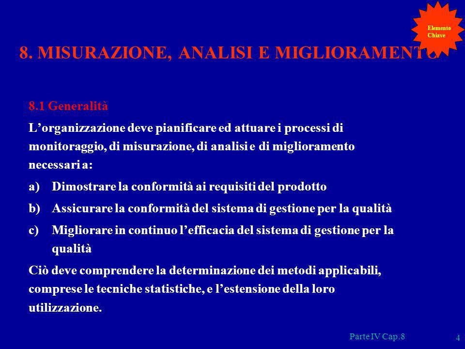 Parte IV Cap.8 4 8. MISURAZIONE, ANALISI E MIGLIORAMENTO 8.1 Generalità Lorganizzazione deve pianificare ed attuare i processi di monitoraggio, di mis