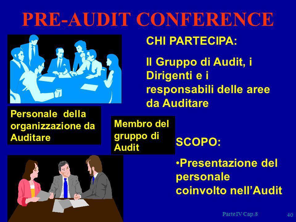 Parte IV Cap.8 40 CHI PARTECIPA: Il Gruppo di Audit, i Dirigenti e i responsabili delle aree da Auditare Membro del gruppo di Audit Personale della or