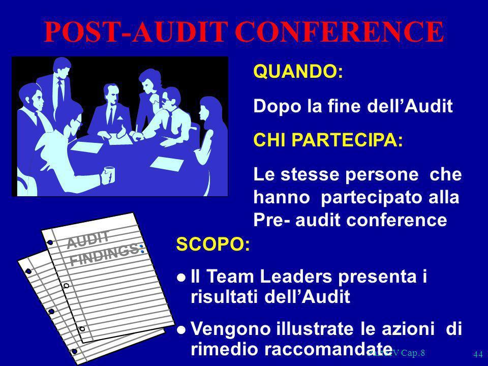 Parte IV Cap.8 44 QUANDO: Dopo la fine dellAudit CHI PARTECIPA: Le stesse persone che hanno partecipato alla Pre- audit conference SCOPO: l Il Team Le